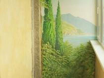 Художественная роспись по штукатурке на балконе