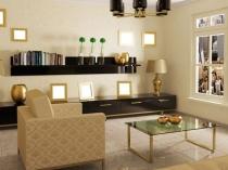Красивое сочетание темной мебели с обоями бежевого оттенка