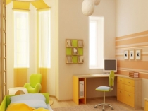 Бежевые обои в ярком дизайне комнаты подростка