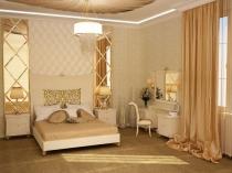 Светлые обои с геометрическим рисунком в спальне