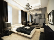 Черные шторы в монохромном дизайне спальни