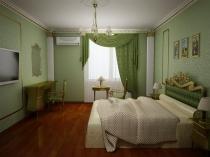 Сочетание зеленых штор с более светлой отделкой стен спальни