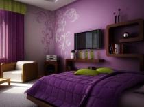Использование в дизайне спальни разных оттенков сиреневого цвета