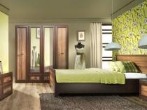 Сочетание цвета мебели и зеленого оттенка в отделке стен спальни