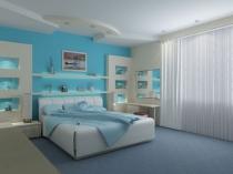 Отделка стены спальни обоями освежающего голубого цвета