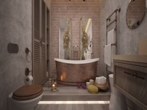 Декоративная штукатурка в интерьере ванной комнаты стиля лофт