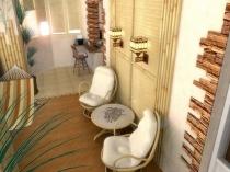 Удачное сочетания декоративного камня, штукатурки и бамбука