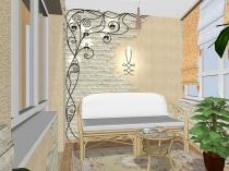 Пример интересного дизайна для просторной лоджии
