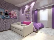Дизайнерская криволинейная перегородка в интерьере спальни-гостиной