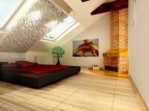 фото красивого дизайна мансардной комнаты