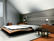 оригинальный дизайн мансардной спальни на фото