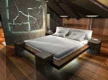 фото дизайна спальни на мансарде