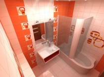 Совмещенный санузел с душем-ванной