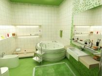 Большой совмещенный санузел с круглой ванной