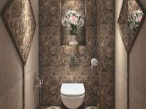 Оформление стен санузла в цветочном стиле