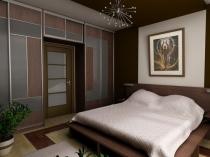 Установка шкафов-купе в спальне у стены с дверью