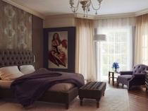 Пример расстановки мебели в спальне эркерного типа