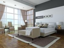 Интерьер современной спальни с большими панорамными окнами