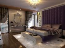 Мягкая стеновая панель у изголовья кровати в дизайне спальни