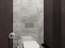 Сочетание плитки и декоративной штукатурки в интерьере туалета