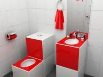 Красно-белая туалетная комната с умывальником в стиле хай тек
