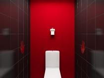 Строгое оформление туалетной комнаты в красно-черно-белых тонах