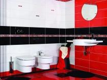 Очень яркое оформление стени пола плиткой в туалете