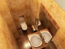 Красивый интерьер маленькой туалетной комнаты с умывальником