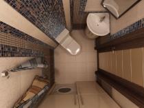 Смешанная туалетной комнаты плиткой и мозайикой