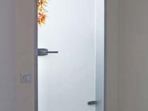 Стеклянная декоративная дверь для санузла