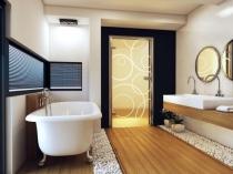 Цельностеклянная дверь для санузла