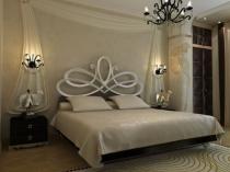 Белый текстиль на кровати в спальне фен-шуй