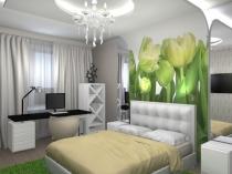 Оформление по фэн шуй стены спальни у изголовья кровати фотообоями с цветами