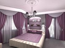 Классические шторы сиреневого цвета в декоре спальни