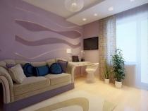 Дизайн современной спальни в светлых сиренево-бежевых тонах