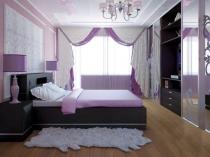 Грамотное сочетание мебели черного цвета и бело-сиреневой отделки спальни
