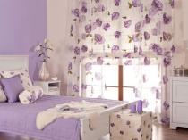 Использование сиреневого цвета в интерьере спальни прованс