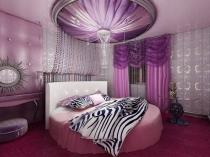 Фиолетовый и розовый цвет в интерьере спальни фьюжн