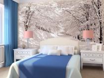 Фотообои с изображением зимнего леса в спальне с белой мебелью