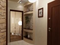 Декоративный камень и гипсовая штукатурка на стенах коридора