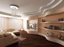 Потолок и стены из гипсокартона с отделкой гипсовой штукатуркой