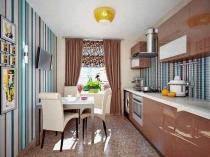 Использование в оформлении кухни голубых в полоску обоев