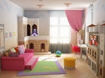 Голубые с бежевым обои в детской комнате