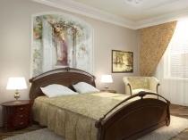 Идея красочного оформления стены в сдержанном интерьере спальни
