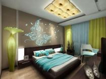 Использование оригинальных светильников в идее оформления спальни