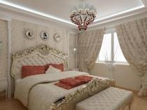 Интерьер маленькой белой спальни в стиле барокко