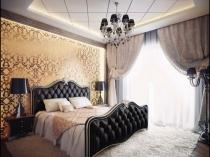 Интерьер классической спальни с дворцовыми золотыми обоями