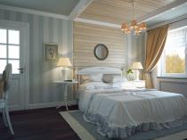Деревянные панели в отделке спальни прованс