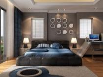 Современный интерьер спальни в серо-синих тонах