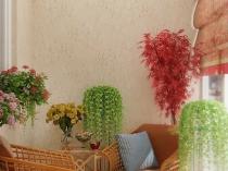 Плетенная мебель в интерьере лоджии
